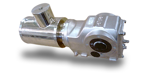 Non ventilated stainless steel motor with stainless conical gear
